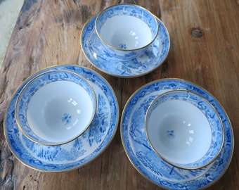 Antique blue and white china cup and saucer set