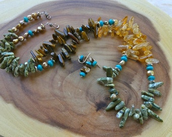 31 Inch Southwestern Three Color Gemstone Stick Bead Necklace with Tiger's Eye, Citrine, and Rainforest Jasper and  Earrings