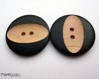 4 dark brown wooden buttons Ø30mm coat buttons