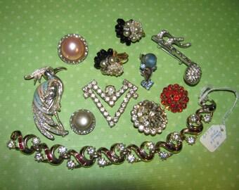 Vintage Destash Rhinestone Bits And Pieces Jewelry Craft Lot