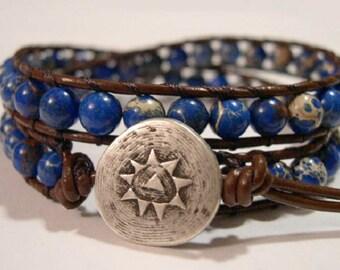 Wrap Bracelet, Beaded wrap bracelet, Beaded bracelet, Boho wrap bracelet, Leather wrap, Beaded wrap, Beaded leather wrap - 844