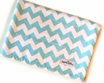 Crate Mat, Blue Chevron, CUSTOM, Medium 29 by 19 Mat, Slip-proof Waterproof Base, Gift Ready, Dog, Cat, Couture, Travel, Washable