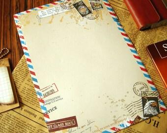 Retro Letter Paper - Airmail (8 sheets)