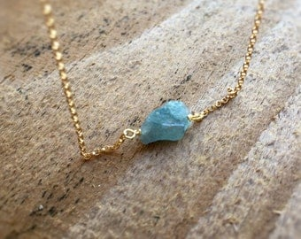 Raw Aquamarine Necklace Gold Filled Raw Crystal Necklace Gift Idea March Birthstone Bridesmaids Gift Aqua Gemstone Necklace