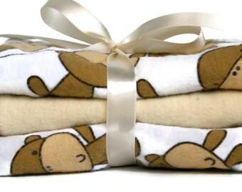 Flannel Burp Cloths - Baby Burp Rags - Sock Monkey Burp Cloth - Cloth Diaper - Gender Neutral Baby - Layette Boy - Baby Girl Burp Cloths