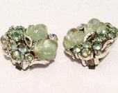 Molded Glass Leaf Earrings, Forbidden Fruit, Green Glass, Rhinestone, Lisner, 1940s Art Deco Vintage Jewelry, Gift for Her