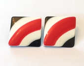 1970s Pyschedelic Earrings, Red, White, Black, Pierced, Vintage Jewelry VALENTINE SALE