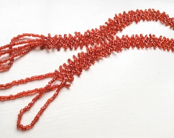 Flapper Necklace, Red Glass Bead 1920s Art Deco, Vintage Jewelry, SUMMER SALE