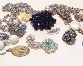 Jewelry Lot including Alice Caviness, Monet, Pearl, Celluloid, Baguette Rhinestone, Vintage Jewelry, Destash WINTER SALE