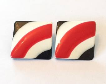 1970s Pyschedelic Earrings, Red, White, Black, Pierced, Vintage Jewelry, SUMMER SALE