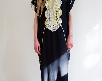 Black maxi kaftan with silver sequin and yellow-beige detailing