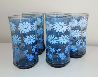Five Vintage Libbey Blue Daisy Drinking Glasses