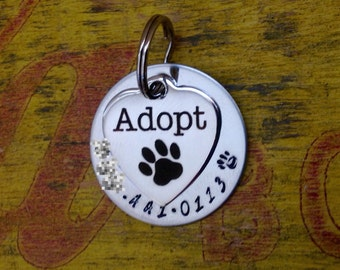 Adopt Pet ID Tag Dogs Cats Rescued