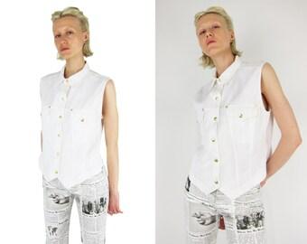 SALE % ESCADA by Margaretha LEY White Denim Vest Jacket