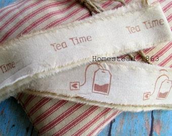 Tea Time Muslin Trim, Tea Bag Muslin Ribbon,  Stamped Muslin Trim, Vintage Inspired, Hand Dyed, Hand Frayed, Hand Stamped, Ribbon
