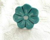 Valentines day gift pretty teal ceramic flower finger ring.