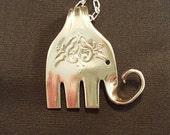 Lucky Elephant Fork Pendant, silverware jewelry