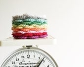 Set of TWO Round Cotton Crocheted Flower Coasters,  Rainbow Colors