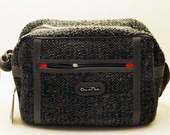 Vintage Tweed Travel Bag Oscar de la Renta