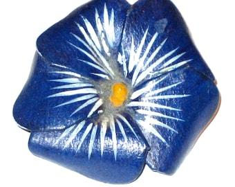 Vintage 80s blue leather flower pin brooch Greece handmade
