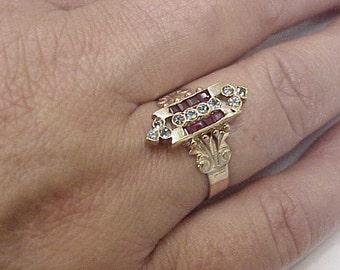 Antique Edwardian 15k  Rose Gold Ring: Genuine Rubies   & Genuine Aquamarines , 18c (1860's).
