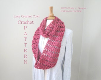 Lacy Crochet Cowl Crochet Pattern, Infinity Scarf Pattern, Quick Easy Pattern, 2 Sizes