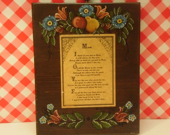 Mother Poem Wall Hanging - Wood Plaque