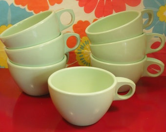 Mint Green Plastic Tea Cups Set Of 7 Arrowhead Made In USA Vintage 1960s