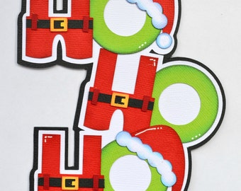 CrafteCafe Paper Piecing Santa Ho Ho Ho Christmas Premade Scrapbook Page Layout