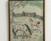Vintage Horse Embroidery, Framed Needlework, Vintage Framed Embroidery, Framed Horse Picture, Animal Embroidery