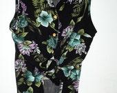 Vintage   Floral  Tropical Hawaiian Print   Crop Top   Sleeveless  Retro Medium Small Large S M L