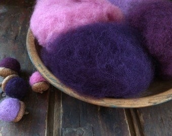 Needle Felting Wool-Purple Passion Wool Sampler-Wet Felting Wool