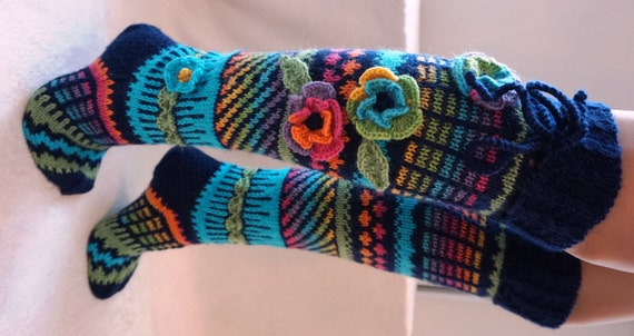 Knitting Pattern For Over The Knee Socks : Wool socks Hand knit knee socks handknitted socks flower