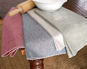 Linen Cotton Chambray Cloth Kitchen Towel, Green, Red, Black or Flax, Dish Towel