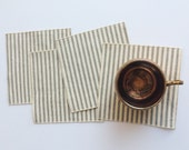 Small Gray and White Ticking Cloth Cocktail Napkins - Lunchbox Napkins - Set of Four