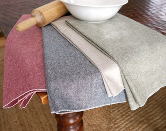 Kitchen Towel - Linen Cotton Chambray Cloth Kitchen Towel, Green, Red, Black or Flax, Dish Towel