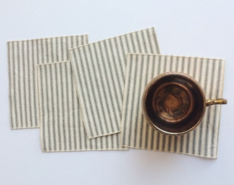 Cloth Napkins - Small Gray and White Ticking Cloth Cocktail Napkins - Lunchbox Napkins - Set of Four