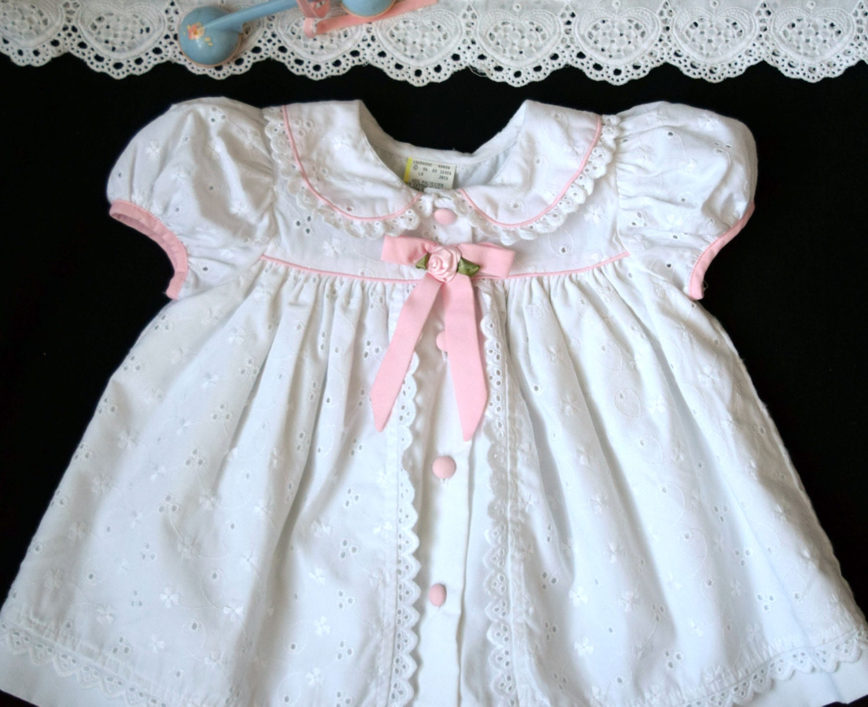 White Eyelet Easter Dress Baby Girl Dressy Dress Eyelet