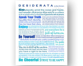 Desiderata Poem by Max Ehrmann - 8x8 or 8x10 Poetry Print - Blues - Other Colors Available - Home Decor Grad Gift - Design by Ginny Gaura