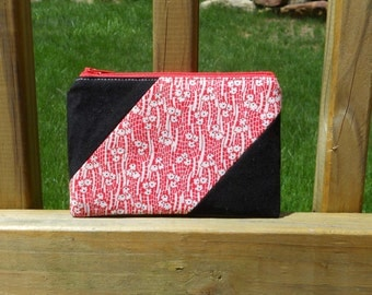 Zipper Pouch, Black with Red Flowers, One of a Kind