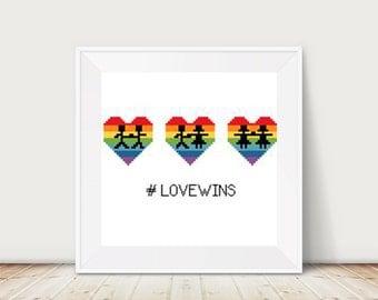 Love wins, Rainbow, Cross Stitch Patterns, PDF, DMC Threads, Instant Download, Pride