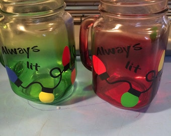 Always lit  mason jar glasses