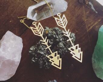 SHOT TO HEART a pair of threaded bronze metal earrings light weight nickel free aztec