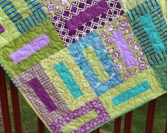 Lap Quilt- Block Walk- Bright Quilt- Handmade Quilt