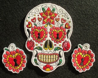 No. 1 Large Embroidered Sugar Skull Set with Heart Locket Applique Patches, Day of the Dead, Dia de los Muertos, Mexican Sugar Skull Patch
