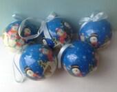 Set of Five Vintage Paper Mache Snowman Ornaments, Vintage Christmas Ornaments, Snowman Ornaments