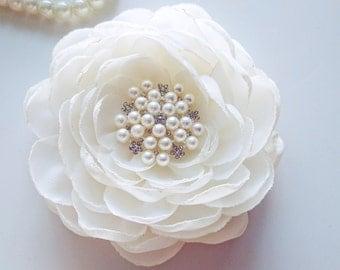 Ivory Hair Accessories, Wedding Bridal Hair Flower Clip, Bridal Hair Flower,  Chiffon Flower, Hair Fascinator