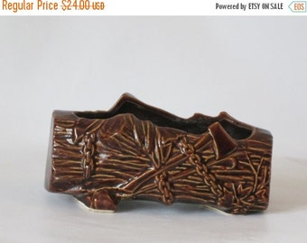 MOVING SALE McCoy Brown Ceramic Log Planter with Wood Cutting Tools. Perfect Condition.