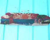Surfers  Sunset Paradise hand Painted on Bamboo Drift wood beach & office decor