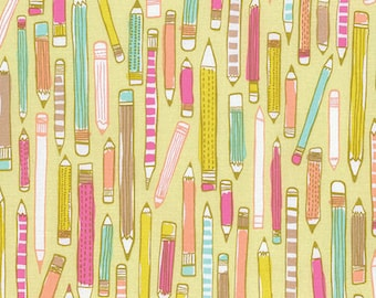 Noteworthy by Erin McMorris for Free Spirit - Doodle - Mustard - FQ - Fat Quarter - Cotton Quilt Fabric   816